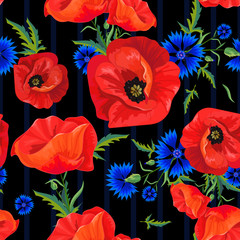Panel Szklany Maki red poppies and blue cornflowers
