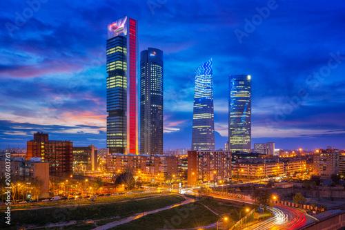 Fotografie, Obraz  Spain financial district skyline at twilight