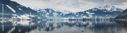Fotobehang Meer / Vijver Large panorama in winter on the beautiful lake Zell am See. Austria