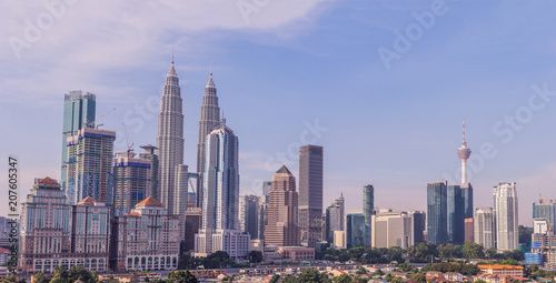 Photo Stands Kuala Lumpur Kuala Lumpur skyline, view of the city, skyscrapers with a beautiful sky in the morning