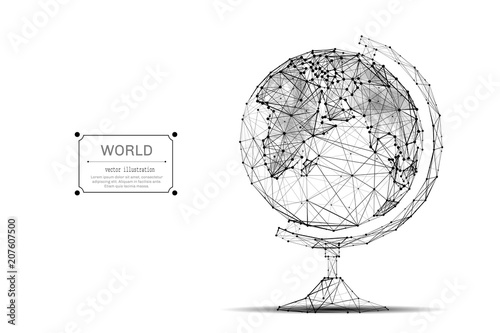 Abstract mash line and point of Globe origami on white background with an inscription Canvas Print