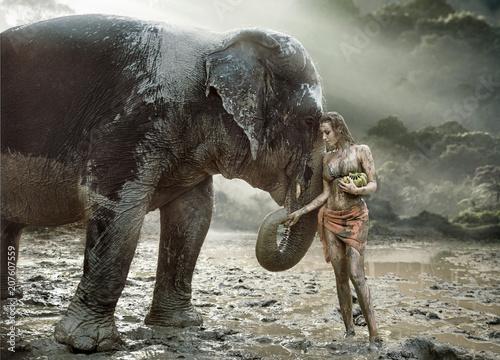 Poster Artist KB Sensual tamer feeding her elephant pet