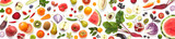 Banner from various vegetables and fruits isolated on white background, top view, creative flat layout.