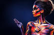 canvas print picture - Portrait of the bright beautiful girl with art colorful make-up and bodyart