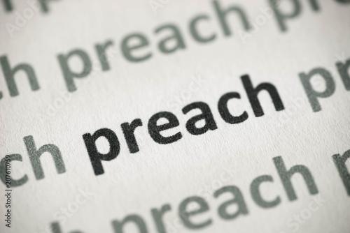 Fototapeta word preach printed on paper macro
