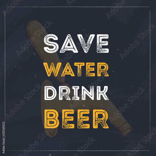 Pinturas sobre lienzo  Save water drink beer typography quote for restaurant