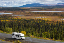 Rv, Motorhome On The Roads Of Alaska. Denali Highway.