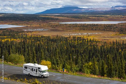 Rv, motorhome on the roads of Alaska. Denali highway.