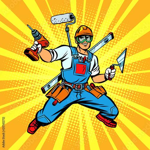 Obraz na plátně Multi-armed Builder repairman
