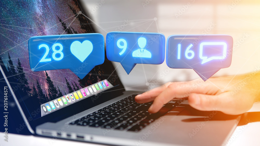 Fototapeta Businessman holding a Like, Follower and message notification on social network - 3d render
