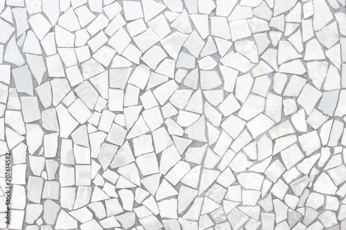 Foto auf Gartenposter Barcelona Broken tiles mosaic seamless pattern. White and Grey the tile wall high resolution real photo or brick seamless and texture interior background.