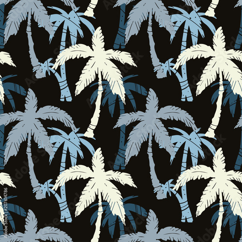 Cotton fabric Seamless pattern with coconut palm trees