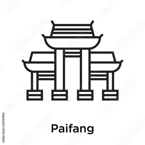 Paifang icon vector sign and symbol isolated on white background