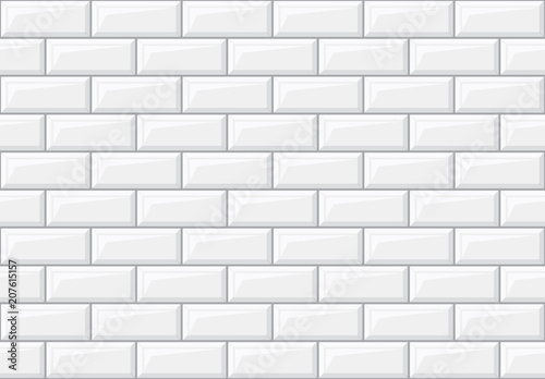 Fotomural  Subway seamless white pattern. Brick wall. Vector illustration