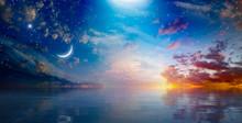 Amazing Surreal Background - Crescent Moon Rising Above Serene Sea