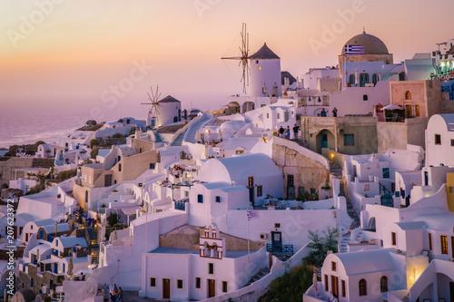 Fototapety, obrazy: Sunset Santorini Oia village Greece