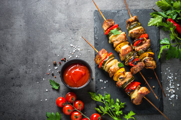 Grilled shish kebab with ve...
