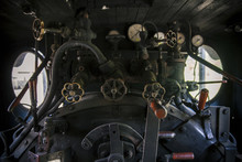 Controls Of A Vintage Steam Locomotive