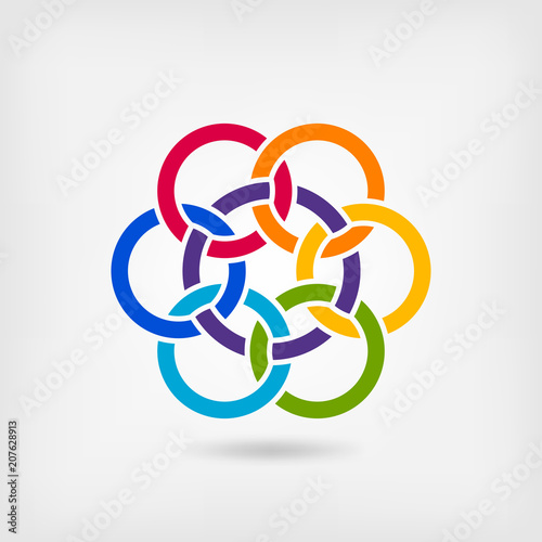 Fotografie, Obraz  seven interlocked circles in rainbow colors
