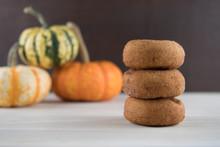 Three Pumpkin Spice Donuts