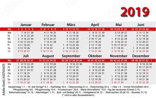 Fototapeta Kalender 2018 Visitenkartenformat Rot