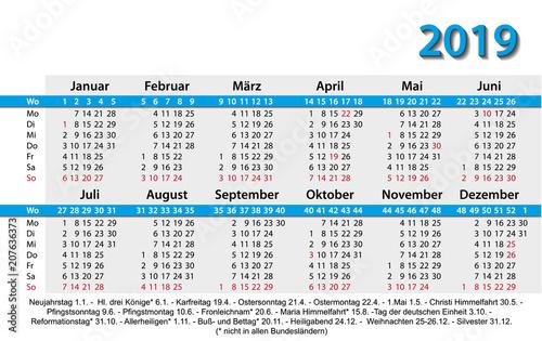 Fototapeta Kalender 2019 Visitenkartenformat Vorlage Blau