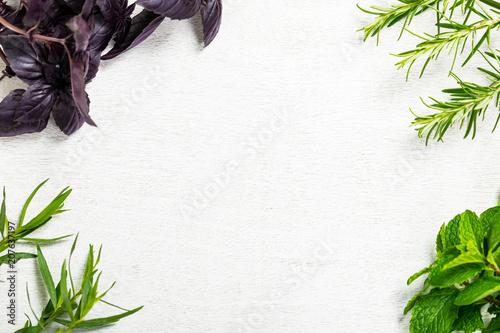 Fotografía  Fresh garden herbs background. Selective focus.