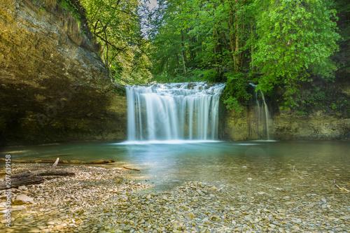 Küchenrückwand aus Glas mit Foto Wasserfalle les cascades du jura