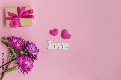 Pink Flowers And Red Hearts Gift Box On A Pink Background Buy