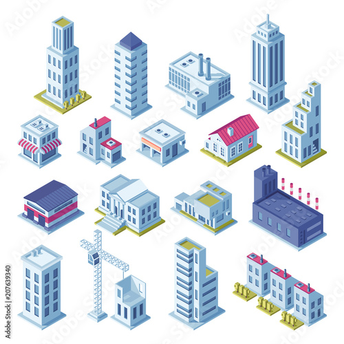 City buildings 3d isometric projection for map. Houses, manufactured area, storage, streets and skyscraper building isolated vector set