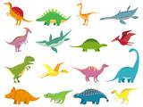 Fototapeta Dinusie - Adorable smiling dinosaurs. Cute baby stegosaurus dinosaur. Prehistoric cartoon animals of jurassic era isolated vector set