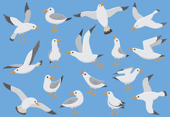 Atlantska bijela morska ptica leti u nebo. Plažni galeb na rivi. Morske ptice, galeb crtani vektor ilustracija