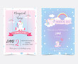 Hand drawn pink blue card and label with sleep unicorn,ribbon,rainbow,cloud and star