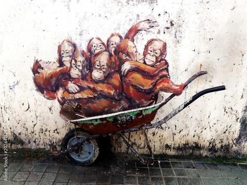 Naklejka premium Orangutan, Orang Utan, Street Art, Wyspa Borneo