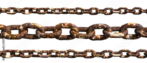 Leinwand Poster Old rusty chain isolated on white background