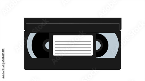 Cuadros en Lienzo Black old vintage retro hipster antique video cassette for video recorder for watching movies, video from the 80's, 90's on a white background