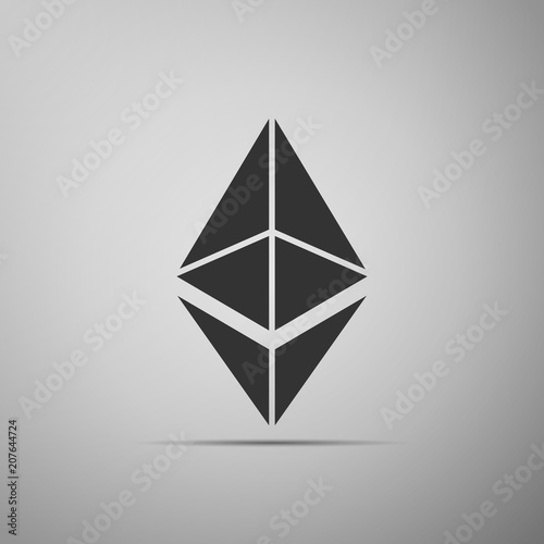 Cryptocurrency Coin Ethereum ETH Icon Isolated On Grey Background Physical Bit Digital Currency