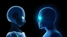 Human Fights Robot On Black. A...