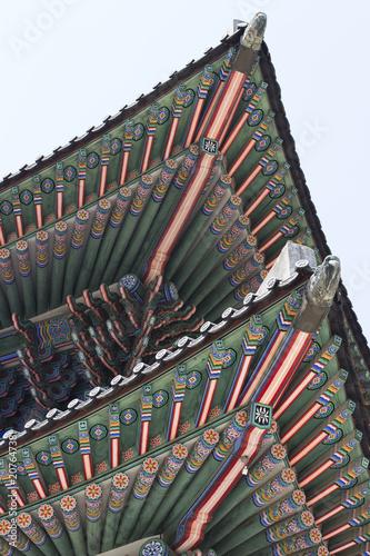 Triangular pagoda roof close-up, bottom view Poster