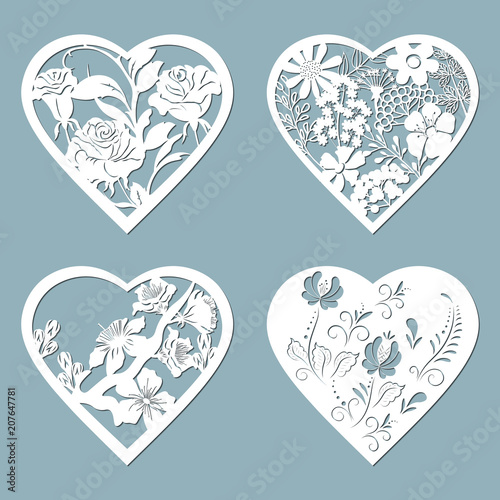 set stencil hearts with flower rose template for interior design