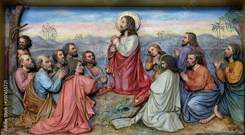 Fotografie, Obraz  Jesus and Apostles in the Mount of Olives, fresco in the church of Saint Matthew