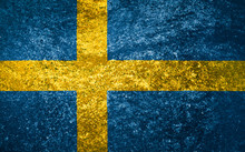 Texture Flag Of Sweden On A Marble Tile.