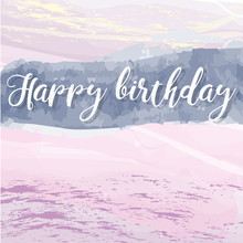 Vector Hand Painted Watercolor Happy Birthday
