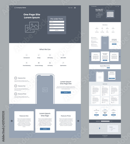 One page website design template for business. Landing page ...