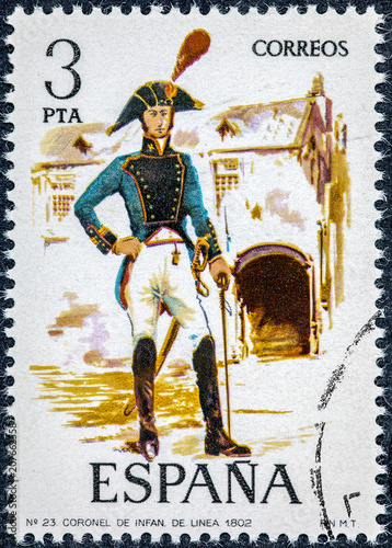 Fotografía  stamp printed in Spain shows Colonel of infantry line 1802
