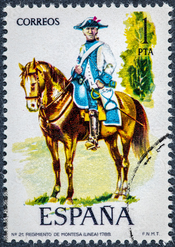 Fotografía  stamp printed in Spain shows regiment of montesa 1788