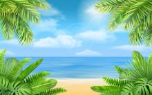 Sea Beach And Tropical Bushes....