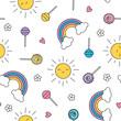 Summer lollipop pastel rainbow sun seamless pattern
