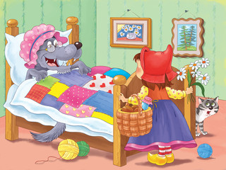 Little Red Riding Hood. Fairy tale. Coloring page. Cute and funny cartoon characters