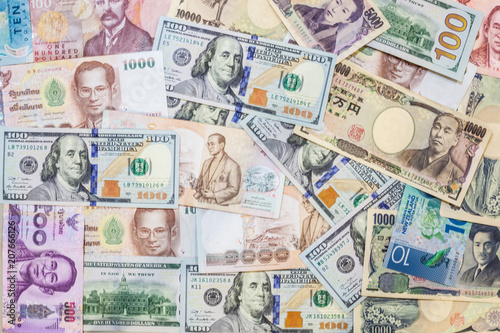Foreign Currency Banknotes Background